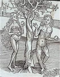 Adam en Eva, houtsnede Methodius