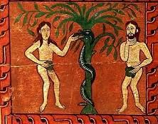 Adam en Eva in de Hof van Eden, bij de boom. De slang kronkelt om de stam. Twaalfde-eeuwse Spaanse afbeeling.