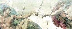 De schepping van Adam, schildering van Michelangelo in de Sixtijnse Kapel in het Vaticaan.