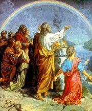 Gods regenboog na de zondvloed - in werkelijkheid zijn regenboog en vloed niet door goden veroorzaakt, maar verklaarbare natuurverschijnselen.