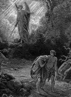 Adam en Eva verjaagd uit het paradijs, door Gustave Doré