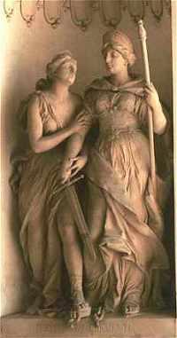 Virtute, de deugd, en Clementia, de barmahrtigheid, met zwaard.