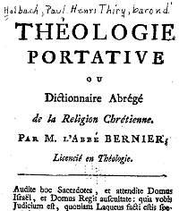 Titelblad Theologie Portative van de baron d'Holbach.